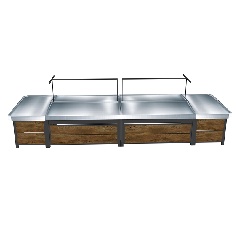 Supermarket Metal And Wood Fruit And Vegetable Display Rack