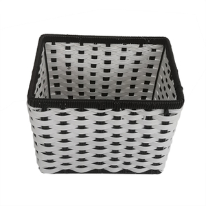Black And White Plastic Rattan Basket