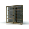 Metal And Wooden Wine Shelf with Glass Door